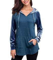 venta de año nuevo sudadera con capucha de manga larga con capucha y patchwork ajustable azul