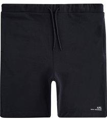 a.p.c logo fleece shorts | noir | h10148-lzz