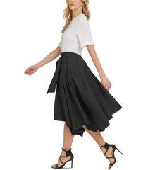 dkny mixed-media asymmetrical-hem midi dress