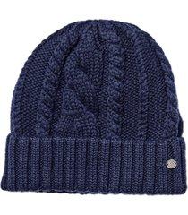 women's helen kaminski fitted cable stitch merino wool beanie - blue