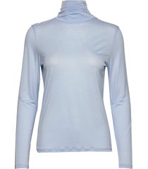 tencel polo neck top t-shirts & tops long-sleeved blauw filippa k
