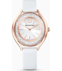 orologio crystalline aura, cinturino in pelle, bianco, pvd oro rosa