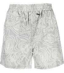 032c abstract-print swim shorts - grey