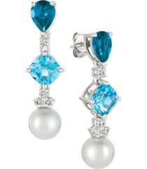 le vian blue topaz (3-9/10 ct. t.w.), white cultured freshwater pearl (9mm) and diamond (1/3 ct. t.w.) drop earrings in 14k white gold
