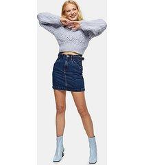 denim side buckle mini skirt - mid stone