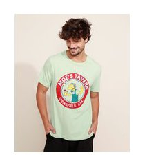 camiseta masculina os simpsons manga curta gola careca verde claro