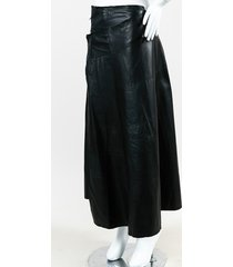 black leather belted a line wrap skirt
