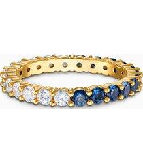 anello vittore half xl, azzurro, placcato color oro