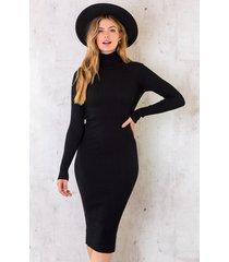 ribstof jurk met col zwart