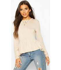 frill hem long sleeve top, sand