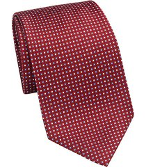 printed box grid silk tie