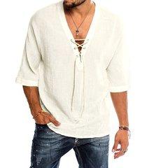 camiseta de media manga lisa con cuello en v y cordones informal de verano para hombre