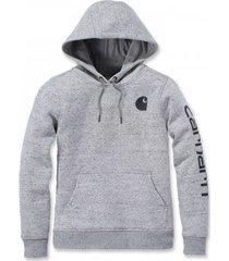 carhartt trui women clarksburg pullover sweatshirt asphalt heather nep-xs