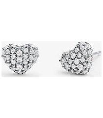 mk orecchini a bottone a forma di cuore in argento sterling con placcatura in metallo prezioso e pavé - argento (argento) - michael kors