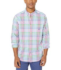 nautica men's blue sail plaid shirt, created for macy's