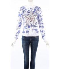 christian dior dior around the world blue embroidered cashmere sweater cream sz: s