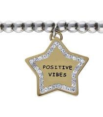 bracciale con pendente stella positive vibes. in acciaio dorato e strass per donna