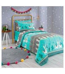 jogo de cama malha solteiro 2 peças 100% alg. 120g/m² fio penteado - appel home - lhama