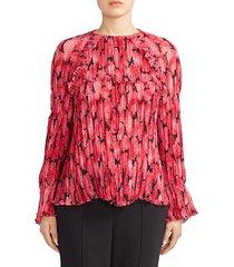 kenzo women's ruffled & pleated floral blouse - deep fuschia - size 38 (6)