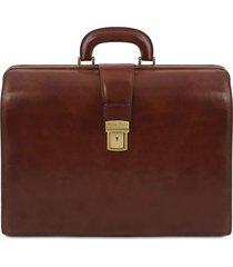 tuscany leather tl141347 canova - borsa medico in pelle 3 scomparti marrone