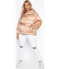 plus satin look belted funnel neck puffer jacket, nude