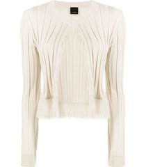 pinko pleated fringe detail cardigan - neutrals