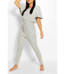 ribbed slouch tie jumpsuit, grey