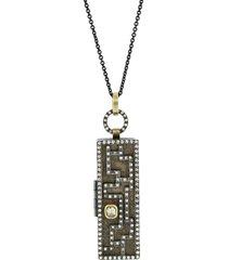 mixed-metal and diamond maze locket pendant