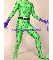 fancy green/purple riddler suit catsuit costumes unisex halloween suit s152