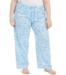 hue plus size cotton temp tech animal-print pajama pants