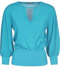 alberta ferretti v-neck ribbed sweater