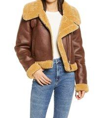 women's avec les filles crop faux shearling aviator jacket, size x-small - brown