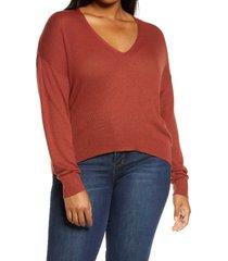 plus size women's bp. rib v-neck cotton blend sweater, size 4x - brown