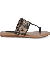 mykonos embossed leather thong sandals