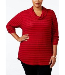 holiday macy's style & co plus size red striped cowl neck sweater size 3x -nwt
