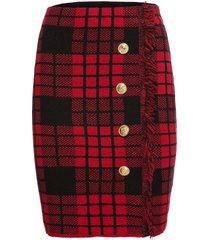 gonna in maglia con frange (rosso) - bodyflirt boutique