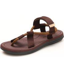 sandalias de playa con velcro para hombre - marrón
