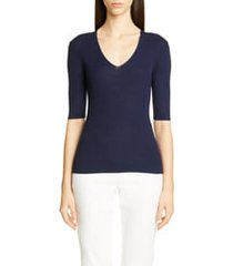 women's st. john collection fine gauge ribbed sweater, size x-large - blue