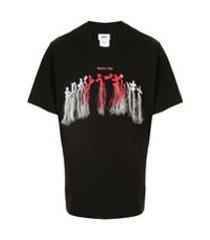 doublet camiseta com franjas e bordado - preto