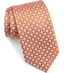 men's david donahue geometric silk tie, size one size - orange