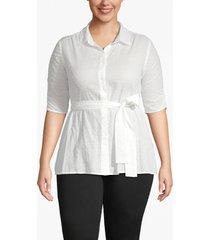 lane bryant women's clip dot belted shirt 28 off white