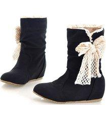 stivali da neve nera di vitello del nodo della farfalla delle donne