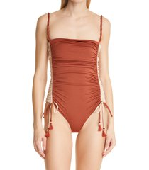 johanna ortiz vast deserts ruched one-piece swimsiut, size x-small in spicy brown at nordstrom