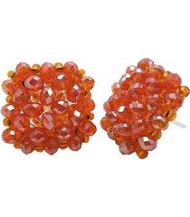 aretes cuadrados en cristal y chaquira naranja