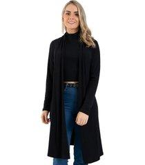 cardigan kimono diluxo canelado preto