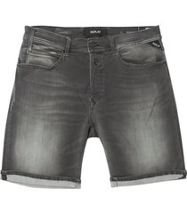 replay grey anbass bermuda hyperflex shorts ma981c-661