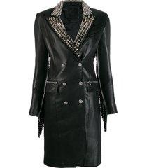 philipp plein cowboy studded coat - black