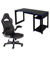 mesa computador tecno mobili me4152 preta/azul + cadeira gamer storm master mst-06