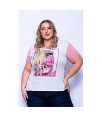 t-shirt miss musa plus size frente no tecido crepe e costas na malha viscolycra rosé
