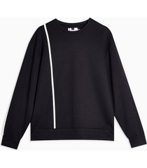 mens topman premium navy line print boxy sweatshirt
